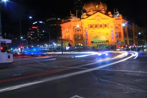 Flinders station in night
